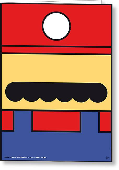 Levels Greeting Cards - My Mariobros Fig 01 Minimal Poster Greeting Card by Chungkong Art