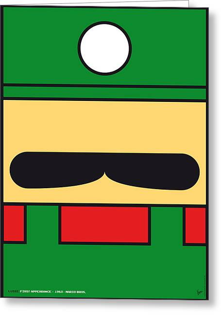 Levels Greeting Cards - My Mariobros Fig 02 Minimal Poster Greeting Card by Chungkong Art