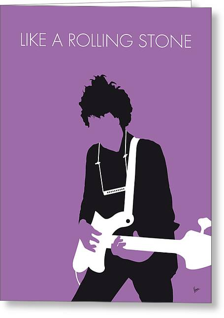 Bob Dylan Print Greeting Cards - No001 MY BOB DYLAN Minimal Music poster Greeting Card by Chungkong Art