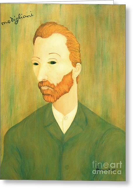 Jerome Stumphauzer Greeting Cards - My Modigliani Portrait of Vincent Van Gogh Greeting Card by Jerome Stumphauzer
