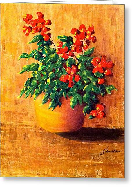 Palette Knife And Brush Greeting Cards - My Mothers Geraniums Greeting Card by Catharine Chevaleau