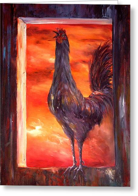Sweating Paintings Greeting Cards - My Nightmare Greeting Card by Jean Walker