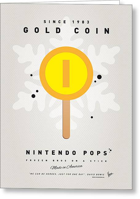 Level Greeting Cards - My NINTENDO ICE POP - Gold Coin Greeting Card by Chungkong Art