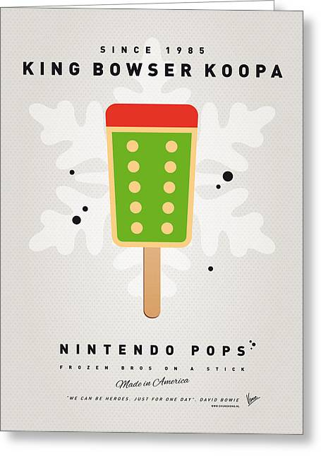 Levels Greeting Cards - My NINTENDO ICE POP - King Bowser Greeting Card by Chungkong Art