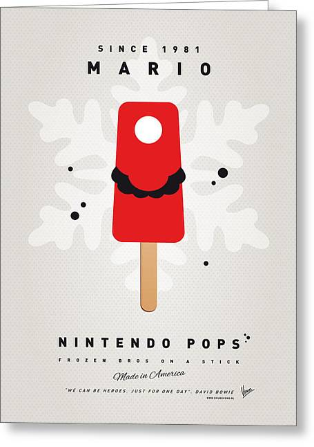 Levels Greeting Cards - My NINTENDO ICE POP - Mario Greeting Card by Chungkong Art