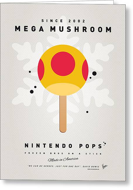 Levels Greeting Cards - My NINTENDO ICE POP - Mega Mushroom Greeting Card by Chungkong Art