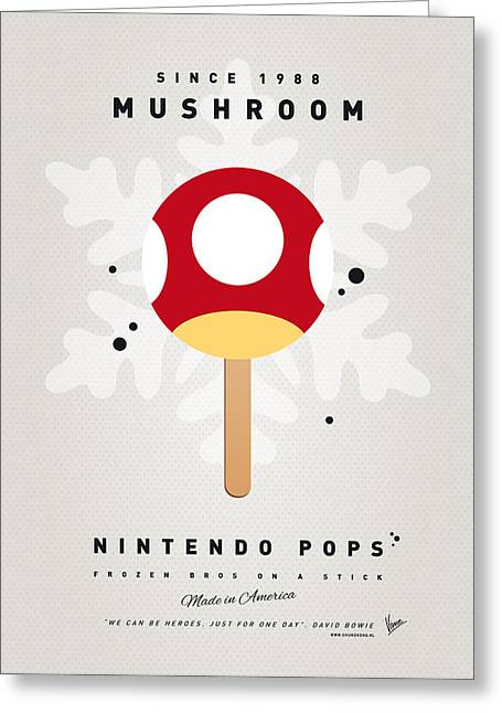 Level Greeting Cards - My NINTENDO ICE POP - Mushroom Greeting Card by Chungkong Art