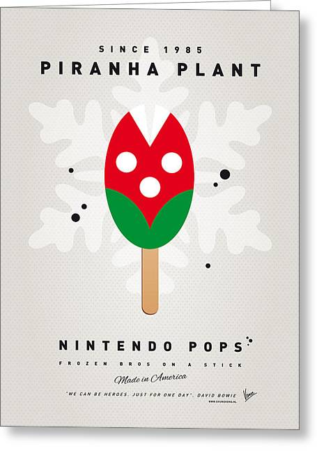 Level Greeting Cards - My NINTENDO ICE POP - Piranha Plant Greeting Card by Chungkong Art