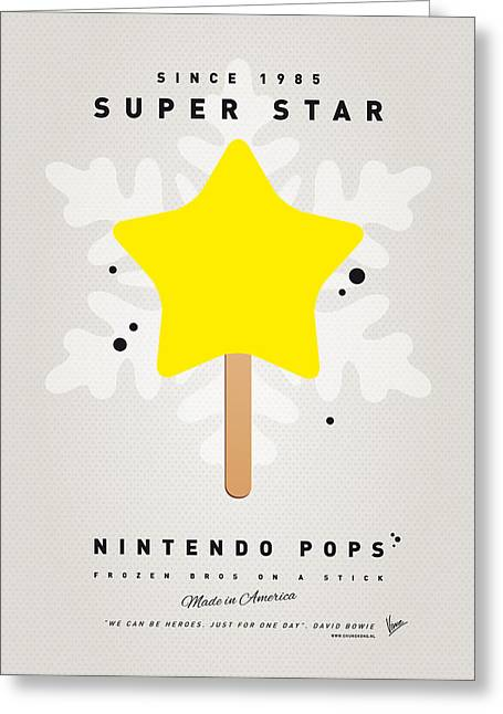 Levels Greeting Cards - My NINTENDO ICE POP - Super Star Greeting Card by Chungkong Art