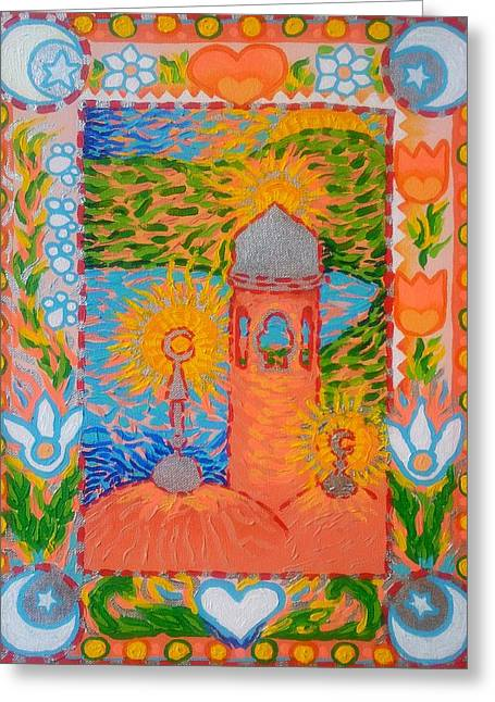 Norwegian Lighthouse Greeting Cards - My Norwegian Folk Art Masjid Greeting Card by Corey Habbas