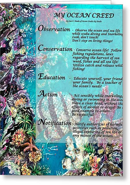 Sea Life Tapestries - Textiles Greeting Cards - My Ocean Creed Greeting Card by Sue Duda