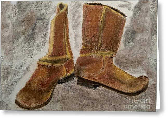 Boots Pastels Greeting Cards - My old boots Greeting Card by James Stevenson