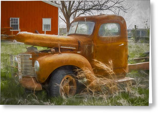 Old Barns Greeting Cards - My Old International Truck - Painting Greeting Card by F Leblanc