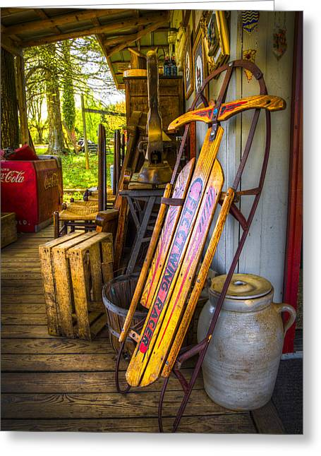 Tennessee Farm Greeting Cards - My Old Sled Greeting Card by Debra and Dave Vanderlaan