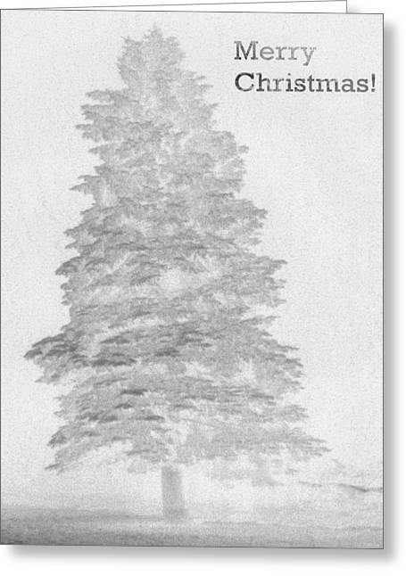 Reverse Art Greeting Cards - My Norman Rockwell Living Christmas Tree - Black and White Greeting Card by James Scott Preston