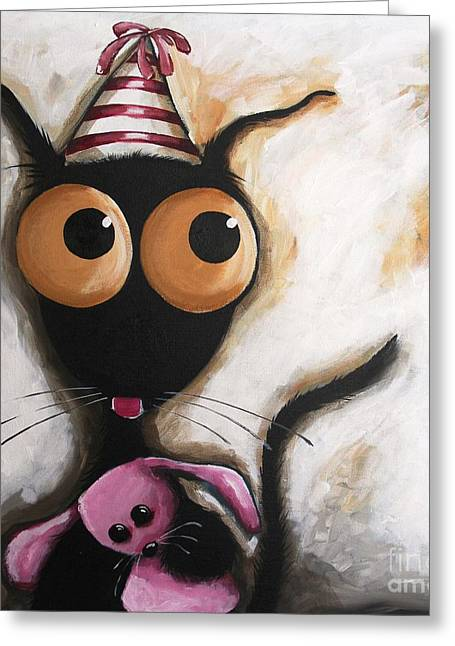 Party Hat Greeting Cards - My party Greeting Card by Lucia Stewart