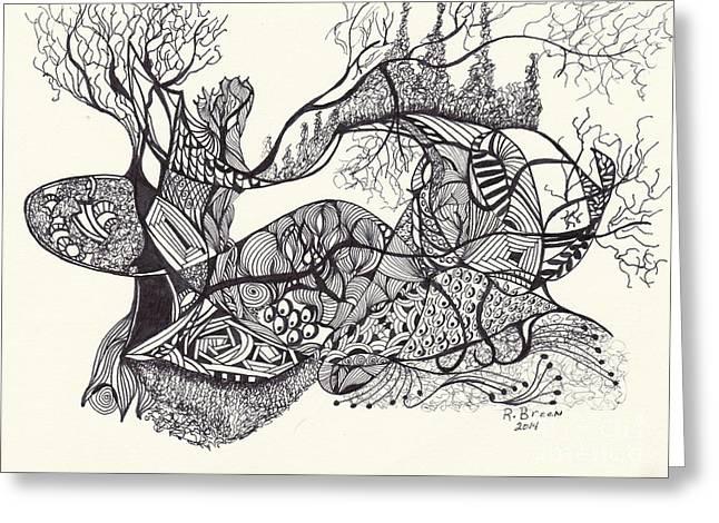 Organic Drawings Greeting Cards - My Path Greeting Card by Ronda Breen