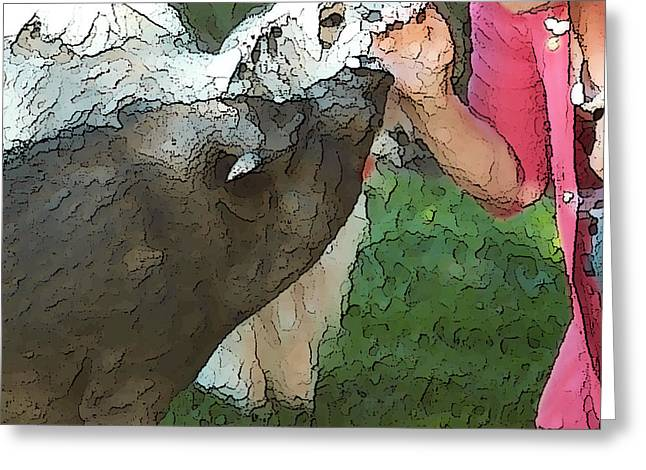 My Pig and Dog Friends Greeting Card by Artist and Photographer Laura Wrede