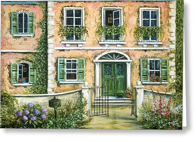 Villa Paintings Greeting Cards - My Pink Italian Villa Greeting Card by Marilyn Dunlap