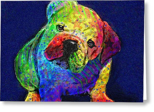 my psychedelic bulldog Greeting Card by Jane Schnetlage