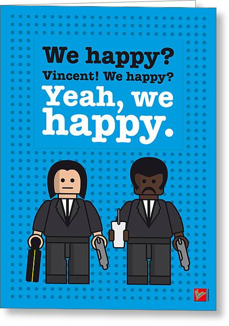 Man Greeting Cards - My Pulp Fiction lego dialogue poster Greeting Card by Chungkong Art