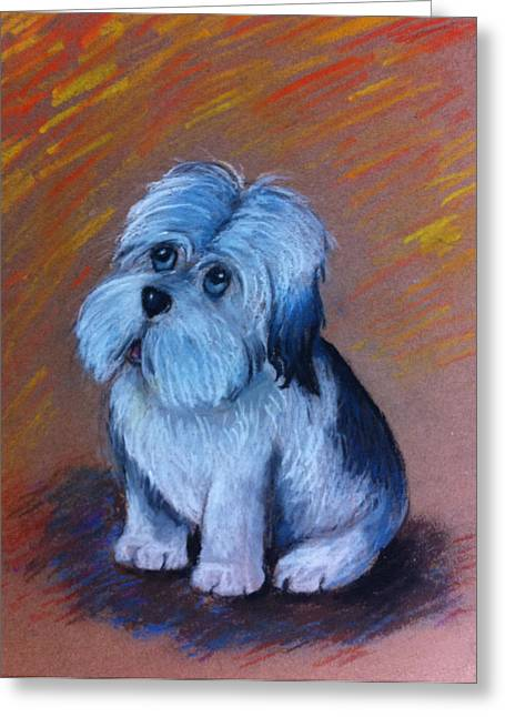 Watching Pastels Greeting Cards - My Puppy Greeting Card by Clement Tsang