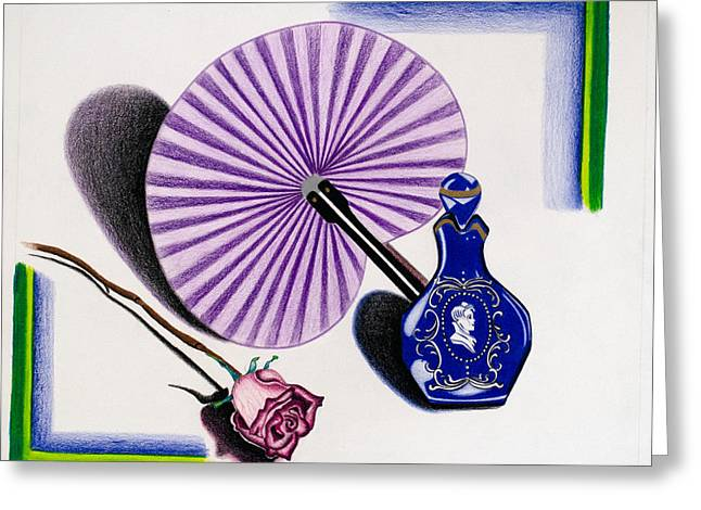 Blue Flowers Drawings Greeting Cards - My purple fan Greeting Card by Teri Schuster