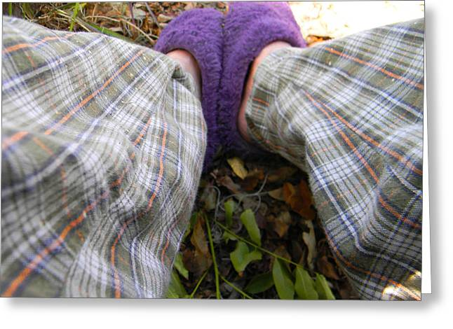Pajamas Greeting Cards - My Purple Slippers Greeting Card by Christy Usilton