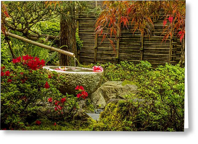 Bamboo Fence Greeting Cards - My Quiet Corner Greeting Card by Calazones Flics