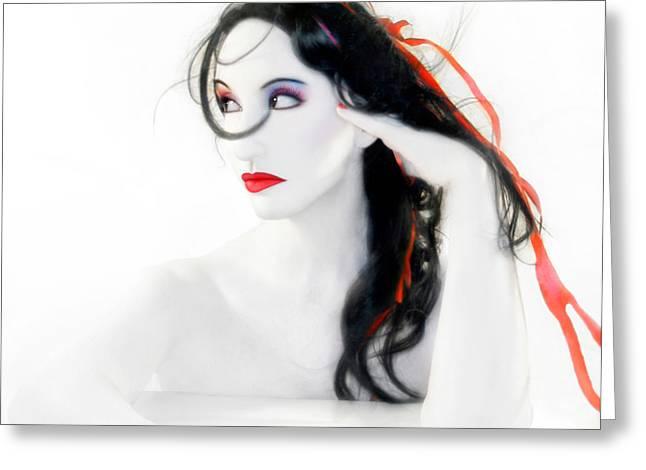 Artsy Greeting Cards - My Red Melancholy - Self Portrait Greeting Card by Jaeda DeWalt