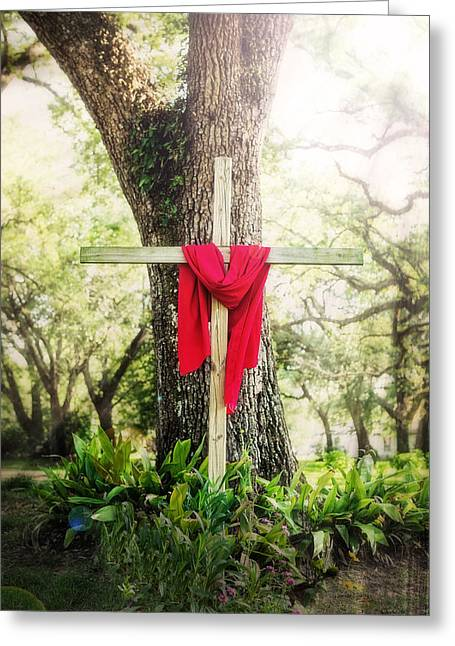 The Wooden Cross Greeting Cards - My Redeemer Lives Greeting Card by Sennie Pierson