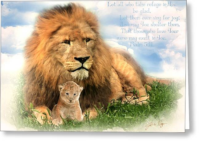 Illustrated Scripture Greeting Cards - My Refuge Greeting Card by Jennifer Page