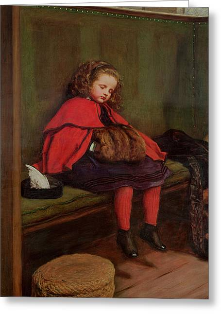 Victorian Photographs Greeting Cards - My Second Sermon, 1864 Oil On Canvas Greeting Card by Sir John Everett Millais