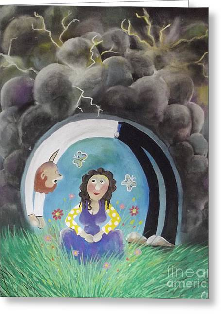 Wife Pastels Greeting Cards - My Shelter Greeting Card by Caroline Peacock