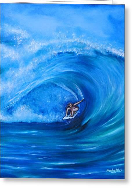 My Ocean Paintings Greeting Cards - My Sister Surfing in Hawaii Greeting Card by Ruben  Archuleta - Art Gallery
