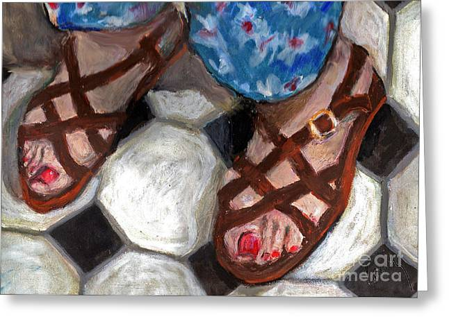 Pajamas Mixed Media Greeting Cards - My Sisters Feet Greeting Card by Cecily Mitchell