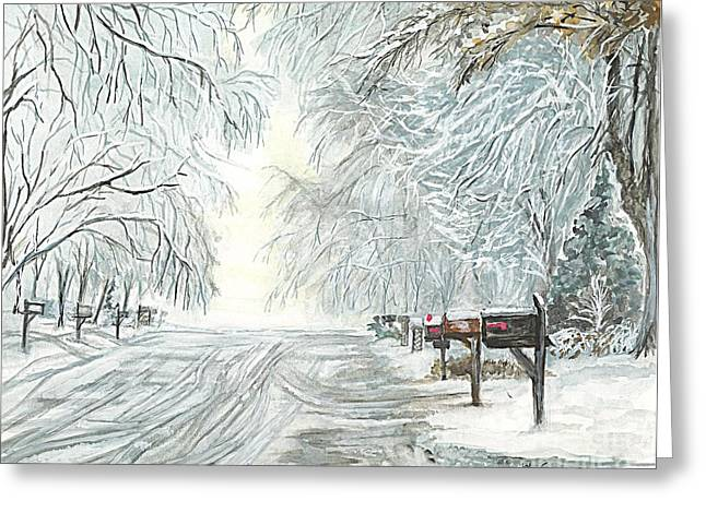Christmas Greeting Greeting Cards - My Slippery Street  Greeting Card by Carol Wisniewski