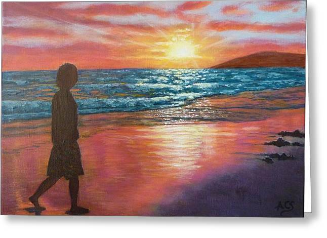 Surf Silhouette Paintings Greeting Cards - My SONset Greeting Card by Amelie Simmons