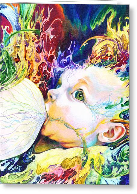 Surrealism Mixed Media Greeting Cards - My Soul Greeting Card by Kd Neeley