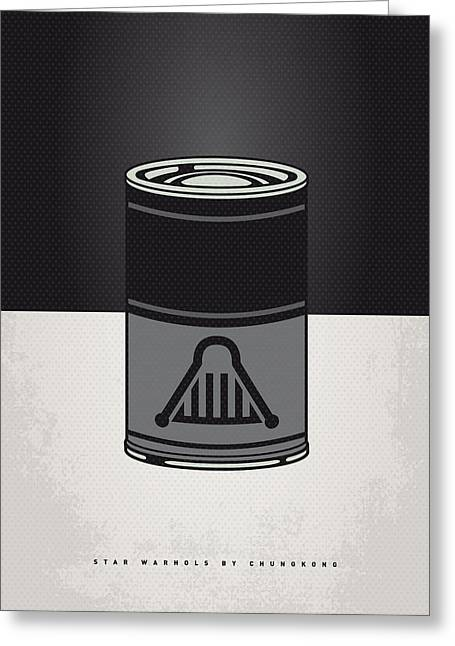 Kid Greeting Cards - My Star Warhols Darth Vader Minimal Can Poster Greeting Card by Chungkong Art