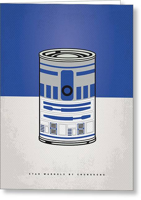 Graphic Design Greeting Cards - My Star Warhols R2d2 Minimal Can Poster Greeting Card by Chungkong Art