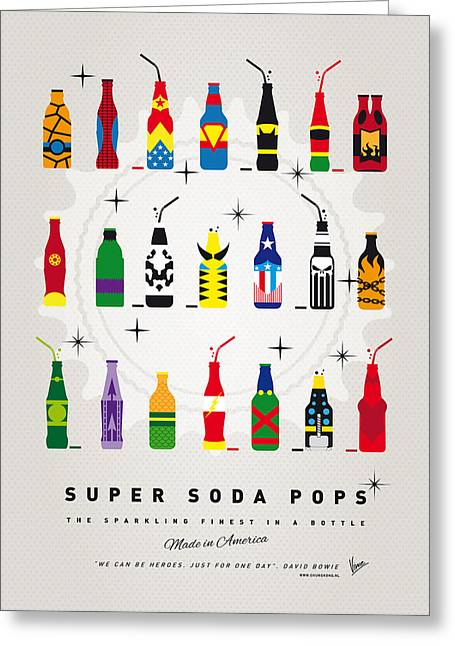 Superhero Greeting Cards - My SUPER SODA POPS No-00 Greeting Card by Chungkong Art