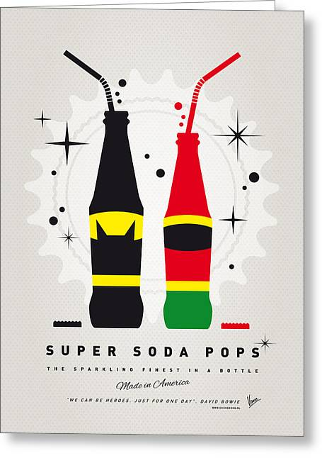 Batman Greeting Cards - My SUPER SODA POPS No-01 Greeting Card by Chungkong Art