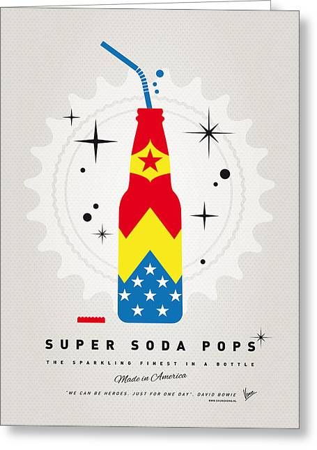 Superheroes Greeting Cards - My SUPER SODA POPS No-04 Greeting Card by Chungkong Art
