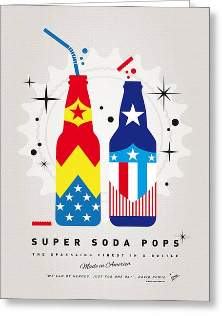 Captain America Greeting Cards - My SUPER SODA POPS No-24 Greeting Card by Chungkong Art