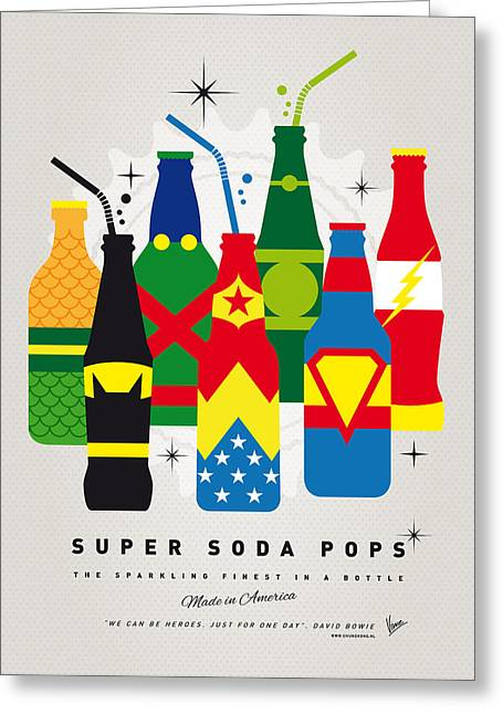Superhero Greeting Cards - My SUPER SODA POPS No-26 Greeting Card by Chungkong Art