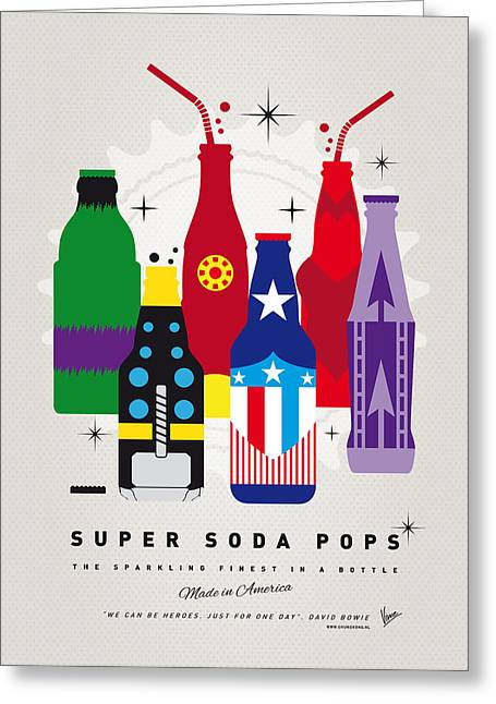 Superhero Greeting Cards - My SUPER SODA POPS No-27 Greeting Card by Chungkong Art