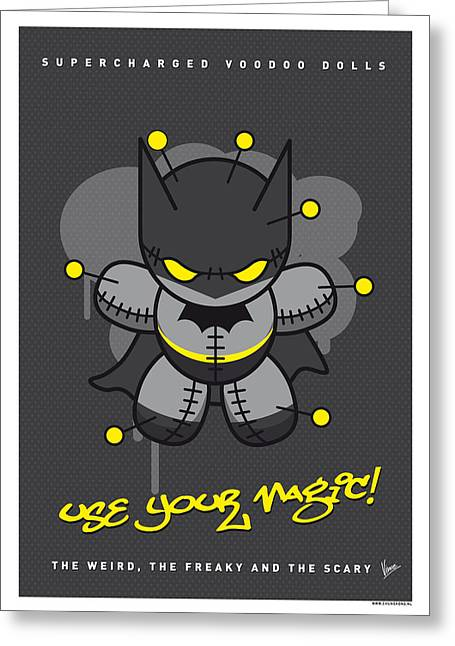 Voodoo Greeting Cards - My SUPERCHARGED VOODOO DOLLS BATMAN Greeting Card by Chungkong Art