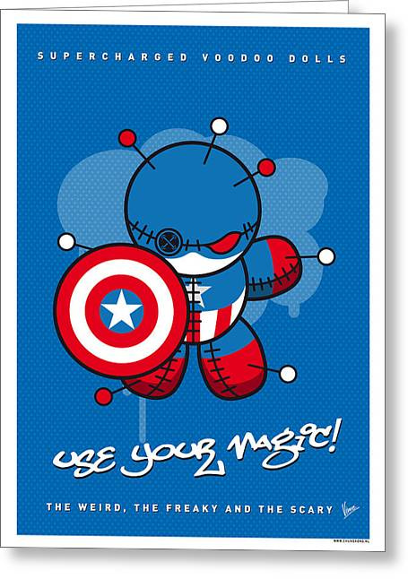 Captain America Greeting Cards - My SUPERCHARGED VOODOO DOLLS CAPTAIN AMERICA Greeting Card by Chungkong Art