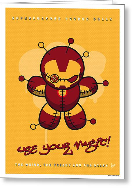 Book Art Greeting Cards - My SUPERCHARGED VOODOO DOLLS IRONMAN Greeting Card by Chungkong Art